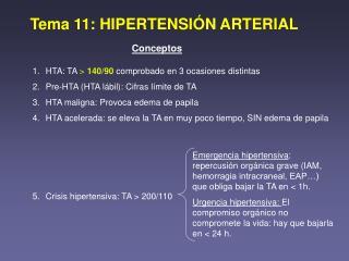 Tema 11: HIPERTENSI�N ARTERIAL