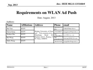 Requirements on WLAN Ad Push