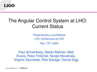 The Angular Control System at LHO: Current Status