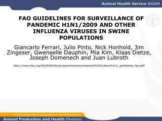FAO GUIDELINES FOR SURVEILLANCE OF PANDEMIC H1N1