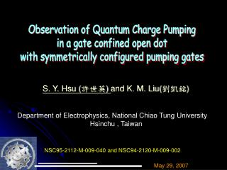 Observation of Quantum Charge Pumping  in a gate confined open dot