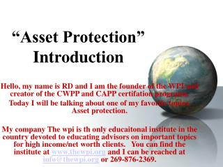 """Asset Protection"" Introduction"