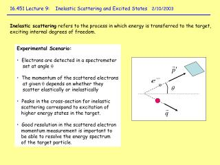 16.451 Lecture 9:    Inelastic Scattering and Excited States    2/10/2003