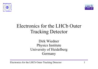 Electronics for the LHCb Outer Tracking Detector