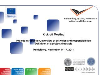 Kick-off Meeting Project introduction, overview of activities and responsibilities