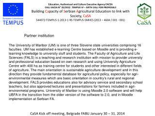 CaSA Kick off meeting, Belgrade FABU January 30 – 31. 2014