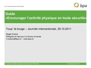 Guide «Encourager l'activité physique en toute sécurité»