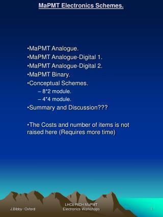 MaPMT Electronics Schemes.