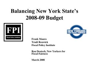 Balancing New York State�s 2008-09 Budget