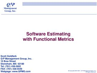 Software Estimating with Functional Metrics