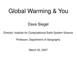 Global Warming & You