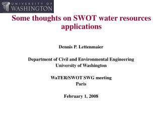 Some thoughts on SWOT water resources applications