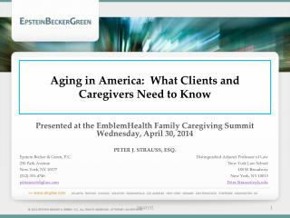 Aging in America:  What Clients and Caregivers Need to Know