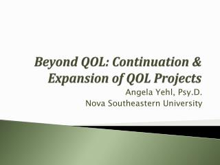 Beyond QOL: Continuation & Expansion of QOL Projects