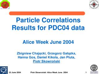 Particle Correlations  Results for PDC04 data Alice Week June 2004