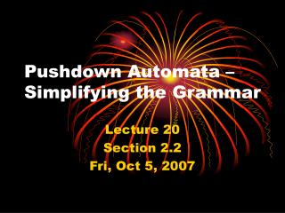 Pushdown Automata – Simplifying the Grammar