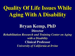 Rehabilitation Research and Training Center on Aging with a Disability