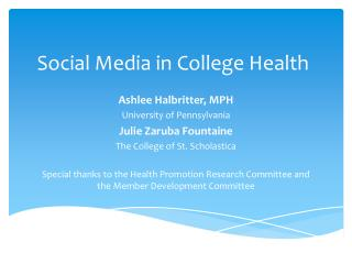 Social Media in College Health