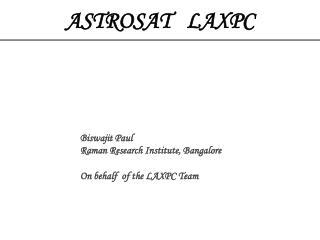 ASTROSAT   LAXPC
