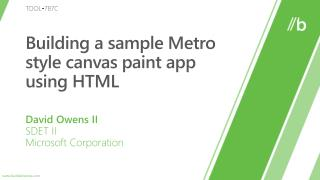Building a sample Metro style canvas paint app using HTML