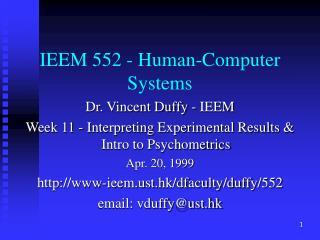 IEEM 552 - Human-Computer Systems