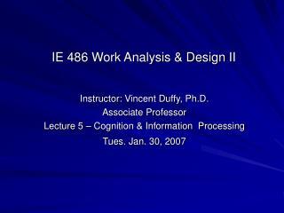 Instructor: Vincent Duffy, Ph.D. Associate Professor