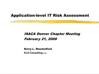 Application-level IT Risk Assessment