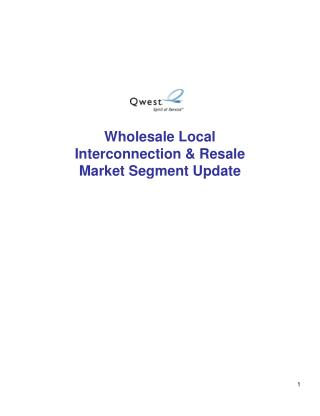 Wholesale Local Interconnection & Resale Market Segment Update