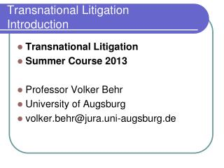Transnational Litigation Introduction