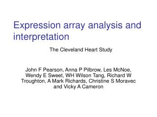 Expression array analysis and interpretation