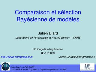 Comparaison et sélection Bayésienne de modèles