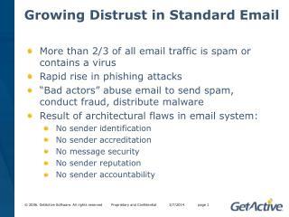 Growing Distrust in Standard Email