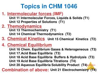 Topics in CHM 1046