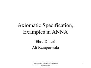 Axiomatic Specification,  Examples in ANNA