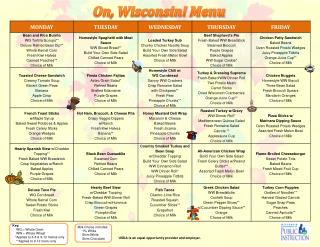 On, Wisconsin!  Menu