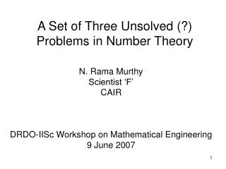 A Set of Three Unsolved (?) Problems in Number Theory