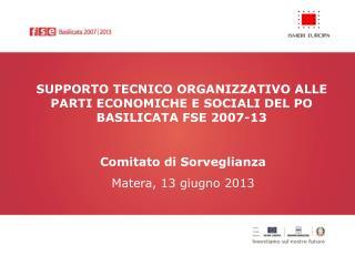 SUPPORTO TECNICO ORGANIZZATIVO ALLE PARTI ECONOMICHE E SOCIALI DEL PO BASILICATA FSE 2007-13