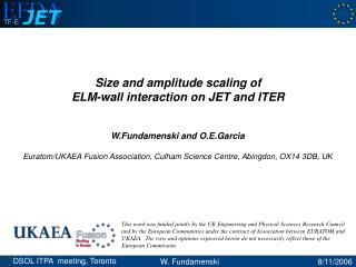 Size and amplitude scaling of  ELM-wall interaction on JET and ITER