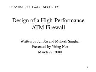 Design of a High-Performance ATM Firewall