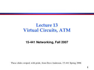 Lecture 13 Virtual Circuits, ATM