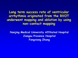 Nanjing Medical University Affiliated Hospital Jiangsu Provence Hospital Fengxiang Zhang