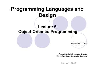 Programming Languages and Design Lecture 5  Object-Oriented Programming