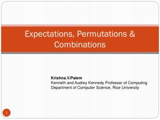 Expectations, Permutations & Combinations