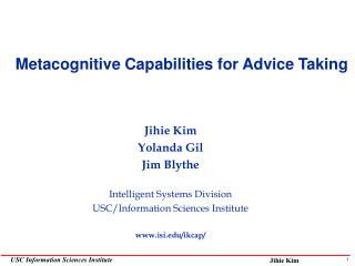 Metacognitive Capabilities for Advice Taking