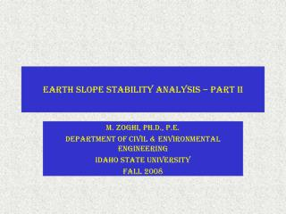 Earth Slope Stability Analysis   Part II