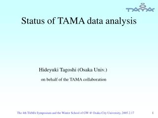 Status of TAMA data analysis