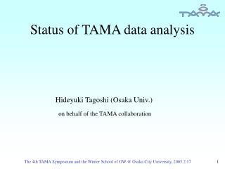 Status of TAMA data analysis