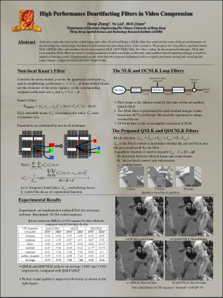 High Performance Deartifacting Filters in Video Compression