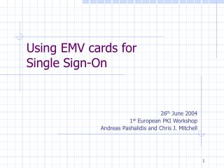 Using EMV cards for Single Sign-On