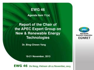 Report of the Chair of  the APEC Expert Group on  New & Renewable Energy Technologies